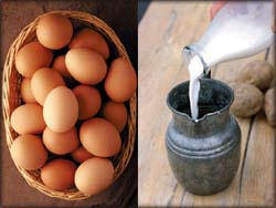 Photo of dairy products, eggs and milk.