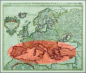 Old map of Europe showing the Mediterranean area where they would eat healthy diets of foods that lower cholesterol