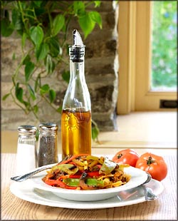 Healthy Mediterranean meal of various foods that lower cholesterol.