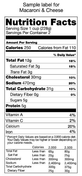 Picture of nutrition facts, foods label. Cheese and macaroni label