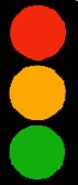 Picture of traffic light: red, orange and green.