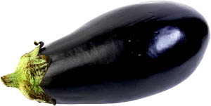 Eggplants are good low cholesterol foods: Picture of black eggplant.