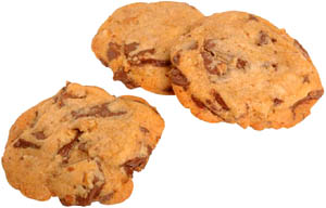 Foods high in cholesterol: 3 cookies with chocolate bits.