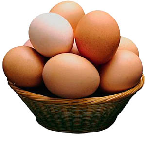 Eggs, particularly the yolks are high cholesterol foods: Eggs in a woven basket.