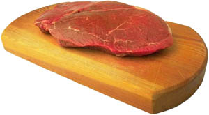 Read meat like a beef steak are examples of high cholesterol foods: Red raw steak on wood board.