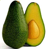 Cholesterol chart: Avocado cut in half.