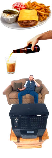 High cholesterol symptoms: A plate with fast food, pooring beer into a glass, and a man talking on the phone while watching television.