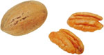 Lower cholesterol naturally by eating nuts: Photo of pecan nuts.