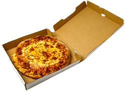 Lower cholesterol naturally by avoiding fast food: Picture of a pizza in a pizza box.