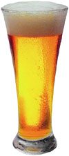 Avoiding symptoms of high cholesterol by not drinking too much alcohol: Picture of a big beer glass.