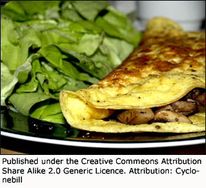 Picture of a delicious omelet with fried mushrooms and green salad.