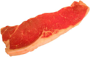 Read meat and animal fat is high in cholesterol: Picture of a red steak.