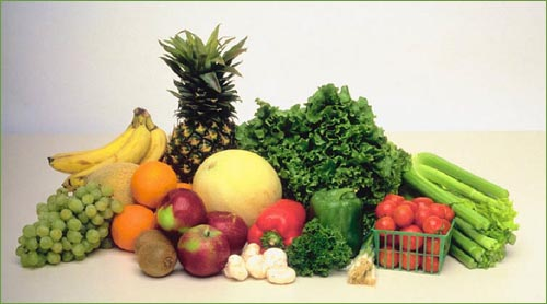 An assortment of lovely fruits and vegetables which are all good to lower your cholesterol.