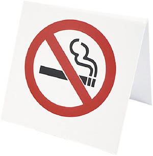 Stop smoking if you want to lower your cholesterol: Picture of non-smoking sign.