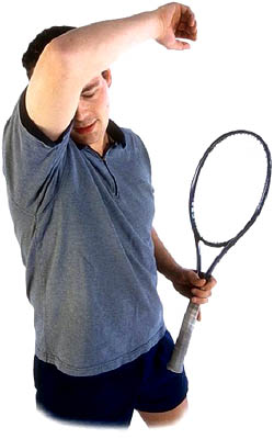 How to lower your cholesterol through exercise. Man playing tennis.
