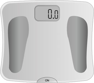 Picture of a bathroom scale: Overweight and cholesterol are often connected.