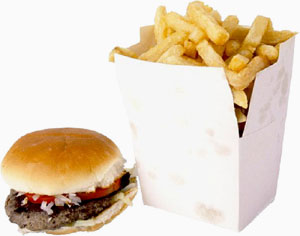 Fastfood will raise your bad cholesterol or LDL cholesterol levels: Picture of burger and fries.