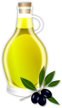 Olive oil is great for maintaining good cholesterol levels: Bottle of olive olive oil and a branch of olives.