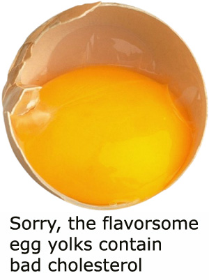 Egg yolks are the part of the egg you want to cut down on if you have cholesterol problems.