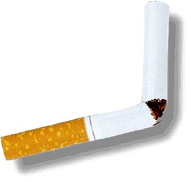 Quit smoking as part of your low cholesterol diet plan. Picture of broken cigarette.