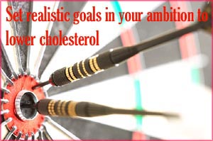Dart and bulls eye. Reaching your goals with your low cholesterol diet plan.