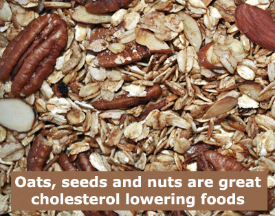 Oats , nuts and seeds are great as cholesterol lowering foods.