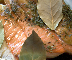 Salmon is packed with healthy unsaturated fats and healthy Omega 3: picture of salmon steak.