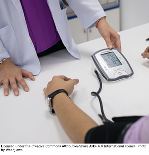 Cholesterol check: blood pressure test.